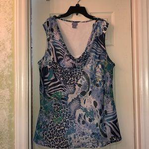 Laura Scott sleeveless sheer top w/sewn in cami 2X